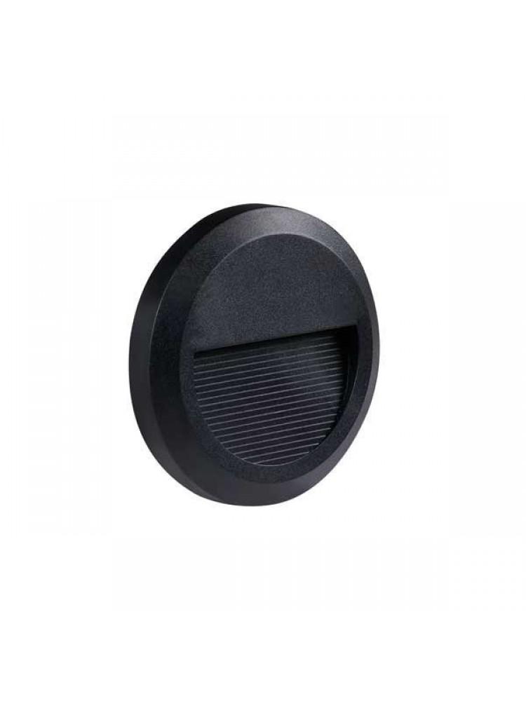 Laiptų pakopų LED šviestuvas , apvalus , 2W, juodas