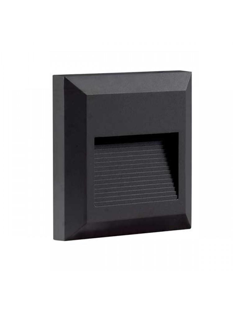 Laiptų pakopų LED šviestuvas , keturkampis , 2W, juoda