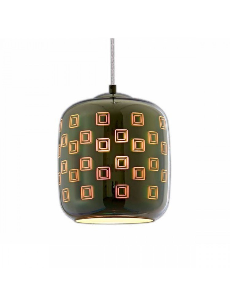 Pakabinamas šviestuvas 3D stiklas Chrome Square E27  D200xH213mm