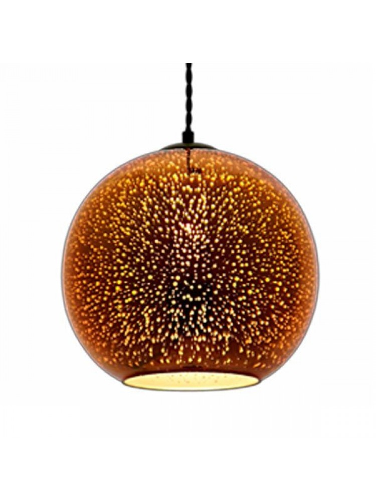 Pakabinamas šviestuvas 3D stiklas Copper Fireworks E27  D300xH275mm