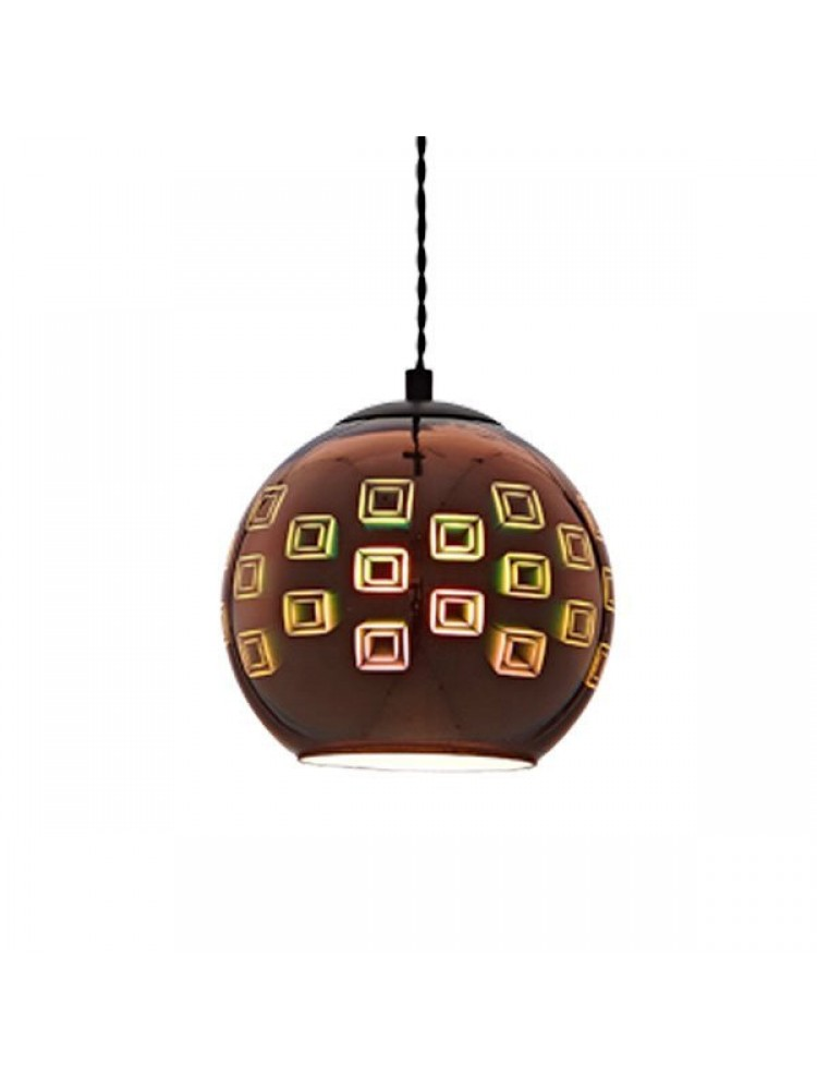 Pakabinamas šviestuvas 3D stiklas Copper Squares D200xH175mm