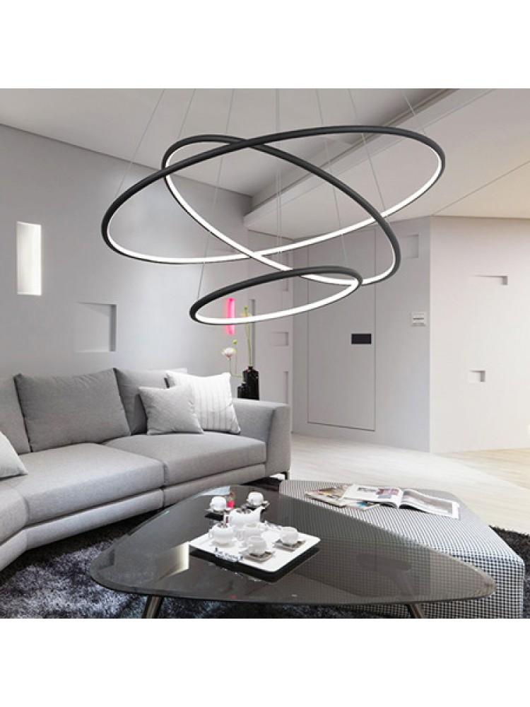 Pakabinamas šviestuvas  apšviestas žiedas Nr. 3 Φ80 cm 4k juodos spalvos