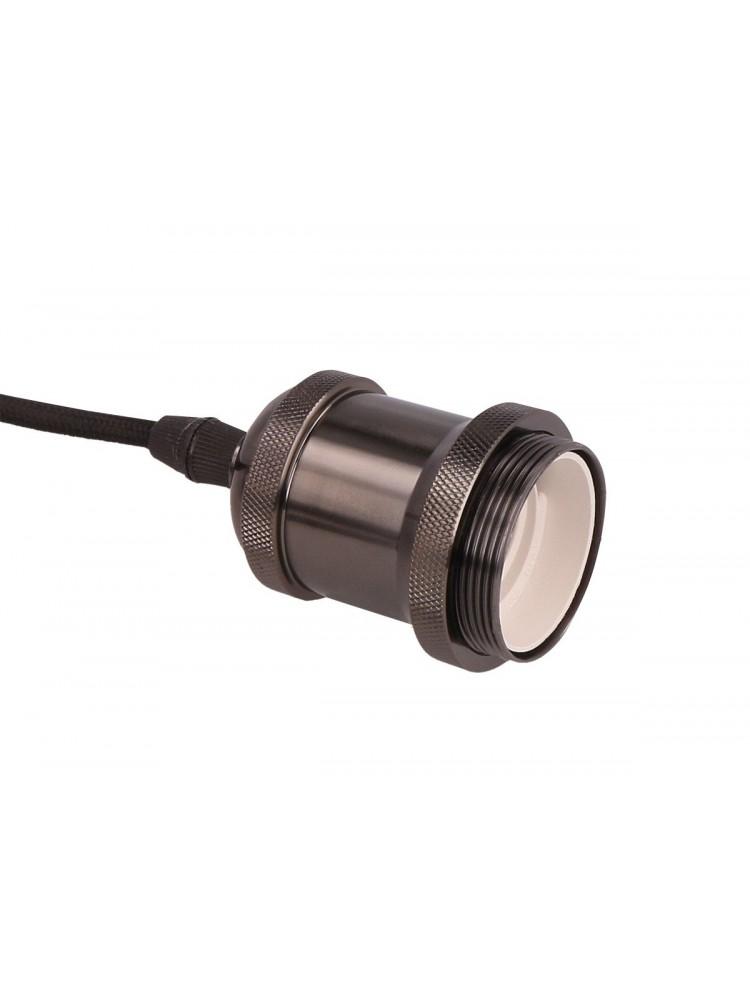 Pakabinamas šviestuvas su medžiaginiu laidu, E27, 1m, juodos spalvos