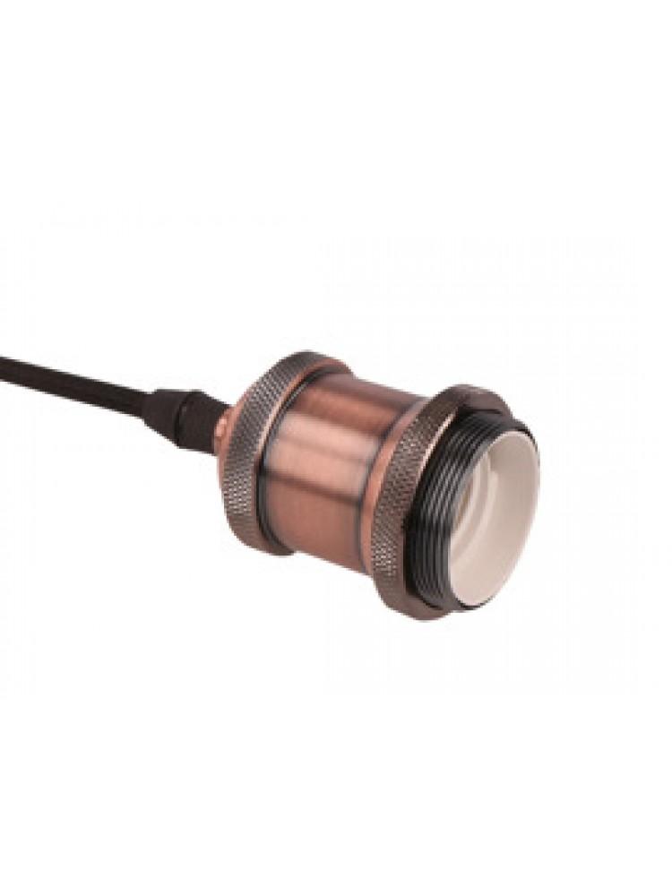 Pakabinamas šviestuvas su medžiaginiu laidu, E27, 1m, sendinto vario spalvos