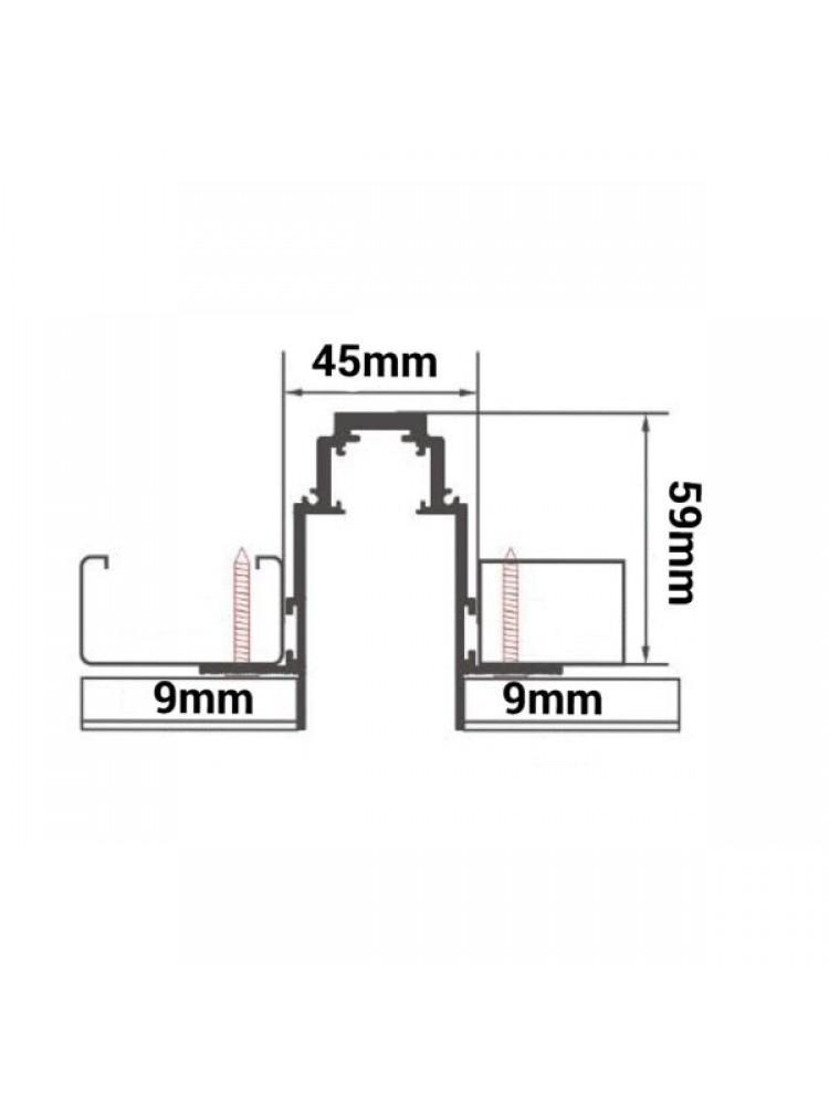 1m Įleidžiamas - priglaistomas magnetinės sistemos bėgelis, juodas