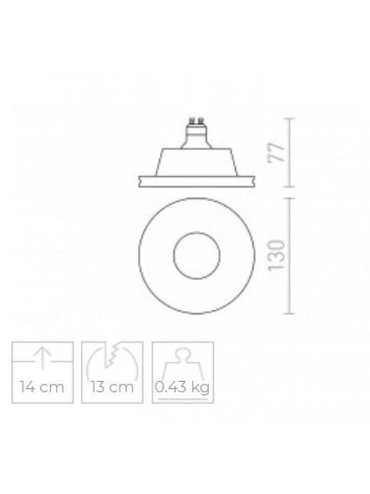 Įmontuojamas šviestuvas, užglaistomas, gipsinis  DAG 75