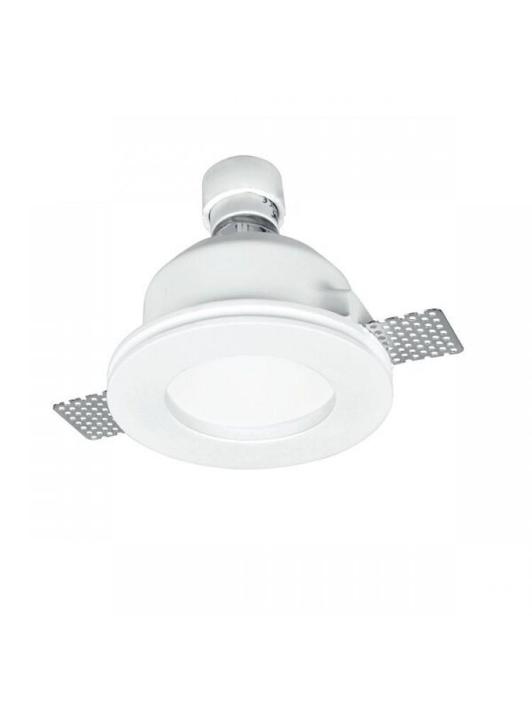 Įmontuojamas šviestuvas, priglaistomas, gipsinis, apvalus, matinis stiklas GU10 120x65mm