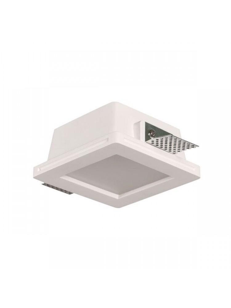 Įmontuojamas šviestuvas, priglaistomas, gipsinis, kvadratinis, matinis stiklas  GU10 ,215x215x60 mm