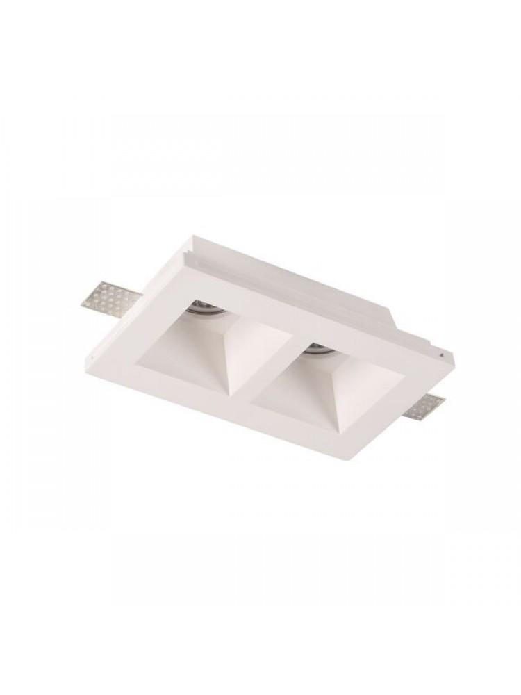 Įmontuojamas šviestuvas, priglaistomas, gipsinis, kvadratinis, matinis stiklas  GU10x2 ,215x415x60 mm